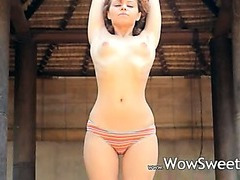 Caprices wet yoga with pink vibrator