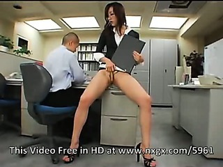 Porn Tube of Japanese Office Girl Gets Fucked By Two