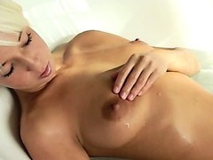 stunning blonde babe morning shower