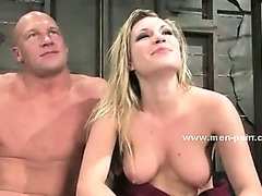 Strong big man used like a dirty toy submits in bondage female domination sex videoclip