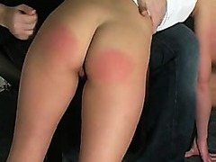 Two naughty girls spanked by a dude