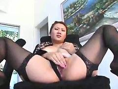 Japanese business slut fucked in the kitchen