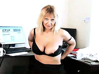 Sex Movie of Mature Secretary Striptease In The Office
