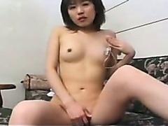 Japanese girl in socks masturbating
