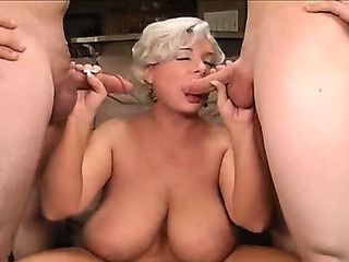 Porno Video of Fat Mature Blonde Having A Threesome With Studs