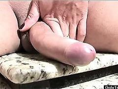 Blonde shemale Saleth masturbates and cums