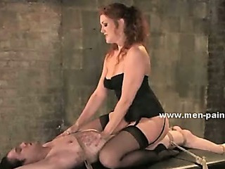 Porn Tube of Janitor Caught By Brunette Awesome Mistress In Leather Boots And Sexy Lingerie And Tormented