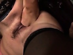 Mature in stockings has pussy fisted
