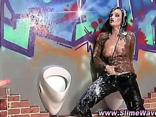 Porno Video of Bukkake Gloryhole Fetish Slut Drenched In Fake Cum