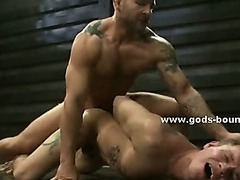 Strong man bound in rope and immobilized teached how to fuck in bondage rough sex screaming