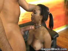 Black Chick Hand Cuffed And Collared During Face Fuck