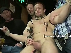 Ropes hold hands and neck of man while gay cocks prepare to fuck ass in gangbang sex video