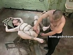 Butcher refrigerator used in kinky bondage fantasy by pervert gay master with experienced hands