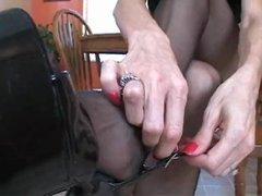 Black Pantyhose Brunette Handjob