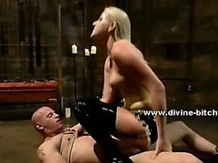 Divine bitch in latex outfit humiliating and torturing man in dominatrix sex video