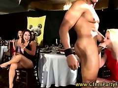 Busty cfnm girls get tits out for stripper