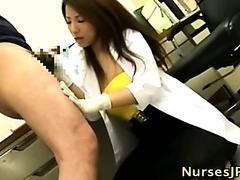 Asian hairy nurse blowjob and cumshot