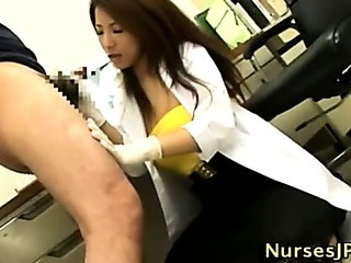 Porno Video of Asian Hairy Nurse Blowjob And Cumshot