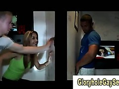 Straight guy uses gloryhole