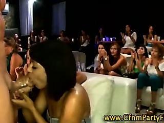 Porn Tube of Naughty Cfnm Chicks Buffing The Helmet