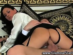 Watch clothed glam stockings brunette