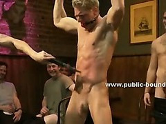 Gay hunk bound in tough ropes naked with his muscles uncovered fucked in extreme gangbang sex video