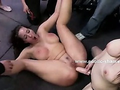 Head of a woman is pushed to swallow dick in public sex in humiliating and degrading anal group sex
