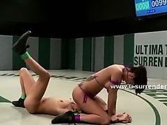 Teen babes fight in ultimate surrender lesbian video having sex with strapon after strenuous fight