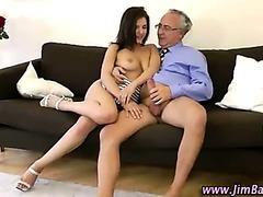 Older guy fucks brunette babe