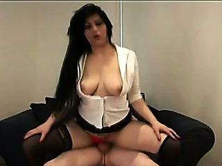 Porn Tube of Horny Cfnm Brunette In Hot Stockings