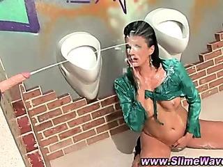 Porn Tube of Gloryhole Messy Fetish Slut Sucks Fake Cock