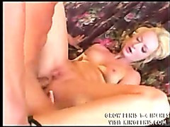 Blindfolded blonde mouth- and assbanged