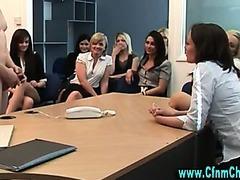 Naughty cfnm group of office sluts