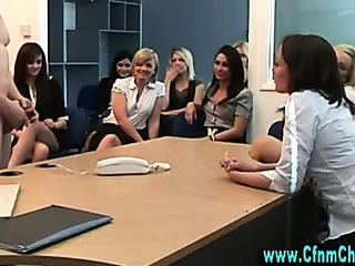 Porn Tube of Naughty Cfnm Group Of Office Sluts