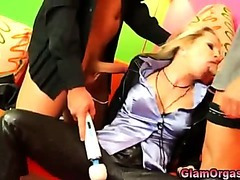 Glamorous european blonde does threesome