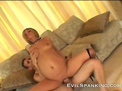 Super naughty blonde fucked and spanked