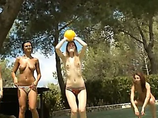 Porno Video of Five Naked Women Getting Wet Outside