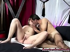Curvy blonde whore gets fingered