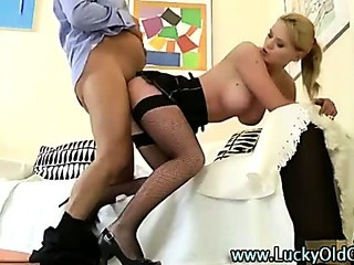 Porn Tube of Older Man Fucks Blonde In Miniskirt And Stockings