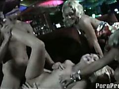 Blindfolded guy fucking blonde in club