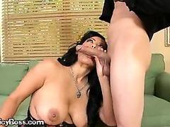 A Brunette Pornstar Giving An Expert Blowjob