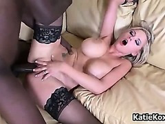 Slutty blonde chick with black stockings