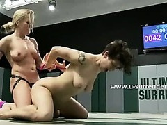 Nasty babes fucking with strapon in rough dirty lesbian sex video after fighting hard