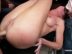Blond amateur fucked in public