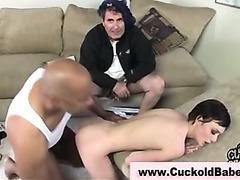 Skinny babe takes black dick