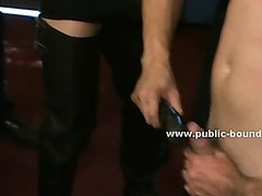 Gay boy visit into shoe shop turns nasty in bondage group sex getting tied with hands behind