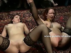 Blonde skinny babe tormented and humiliated in public bdsm sex with gang of perverts and rough dp