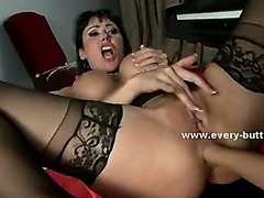 Blonde divas with hot bodies caught playing with toys and rammed in extreme anal sex with hard cock