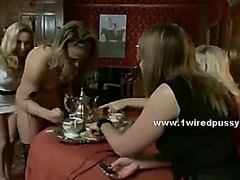 Blonde incredible hot lesbian tortures slave tied with big boobs and pussy naked with electric shock