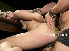 Slim babe with ponytail forced to deliver pleasure in incredible public deepthroat sex